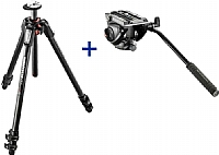 Manfrotto Stativkit 055 Carbon 3-section Tripod m/videohode