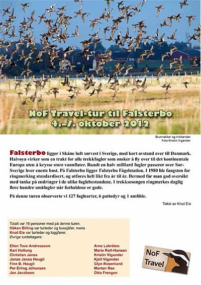 NoF Travel turrapport - Falsterbo 2012