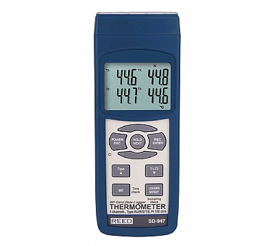 REED SD-947 SD Series Thermocouple Thermometer Data logger, 4 Channel
